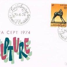 Sellos: LUXEMBURGO IVERT 832/3 ESCULTURA: BICHE DE A.TREMONT Y ABSTRACTA DE WERCOLLIER PRIMER DIA 29-4-1974. Lote 278407623