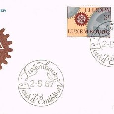 Sellos: LLUXEMBURGO IVERT 700/1, EUROPA 1967, PRIMER DIA DE 2-5-1967. Lote 278410093