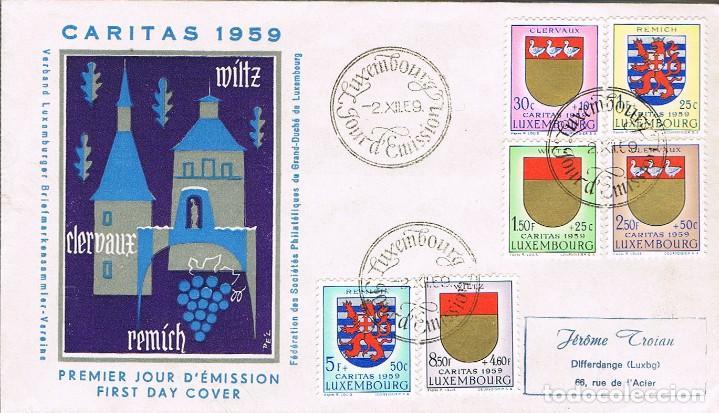 LUXEMBURGO. CARITAS, ESCUDOS, PRIMER DIA DE 2-12-1959. (Sellos - Temáticas - Europa Cept)