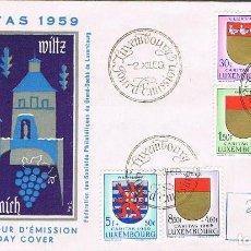 Sellos: LUXEMBURGO. CARITAS, ESCUDOS, PRIMER DIA DE 2-12-1959.. Lote 278411163
