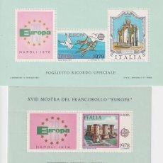 Sellos: ITALIA HOJITAS RECUERDO OFICIALES EXPOCICIONES EUROPA. Lote 287676833