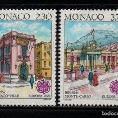 Sellos: MONACO 1724/25** - AÑO 1990 - EUROPA - EDIFICIOS POSTALES. Lote 288570663