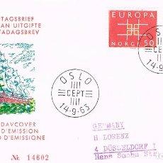 Sellos: NORUEGA IVERT Nº 460/1, EUROPA 1963, PRIMER DIA 14-9-1963. Lote 294085978