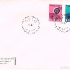 Sellos: NORUEGA IVERT 509/10, EUROPA 1967, PRIMER DIA DE 2-5-1967. Lote 294086208