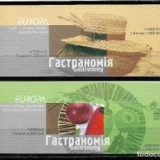 """Sellos: EUROPA CEPT 2005 BIELORRUSIA, DOS CARNETS TEMA """" GASTRONOMÍA """" MNH.. Lote 295426213"""
