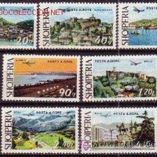 Sellos: ALBANIA AÉREO 68/74*** - AÑO 1975 - PAISAJES Y AVIÓN. Lote 13522527