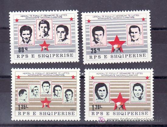 ALBANIA 1855/8 SIN CHARNELA, HOMENAJE A LOS HEROES Y MARTIRES DE LA LIBERACION, (Sellos - Extranjero - Europa - Otros paises)