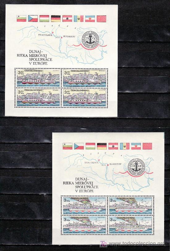 CHECOSLOVAQUIA HB 57/8 SIN CHARNELA, BANDERA, PAJAROS, BARCO, COMISION DEL DANUBIO, (Sellos - Extranjero - Europa - Otros paises)