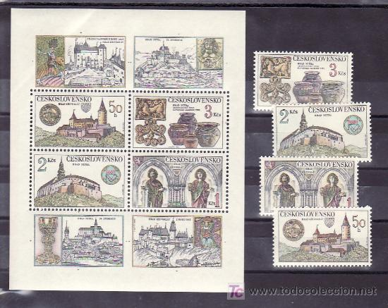 CHECOSLOVAQUIA 2491/5, HB 55 SIN CHARNELA, CASTILLOS Y SUS TESOROS, (Sellos - Extranjero - Europa - Otros paises)