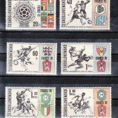 Sellos: CHECOSLOVAQUIA 1802/7 SIN CHARNELA, DEPORTE, COPA DEL MUNDO DE FUTBOL MEXICO 70, . Lote 11874861