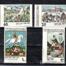 Sellos: CHECOSLOVAQUIA 1779/82 SIN CHARNELA, PINTURA DE JOSEF LADA, . Lote 9353754