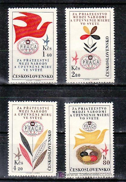 CHECOSLOVAQUIA AEREO 53/6 SIN CHARNELA, FAUNA, PALOMA, EXP. FILATELICA INTERNACIONAL PRAGA 1962 (Sellos - Extranjero - Europa - Otros paises)