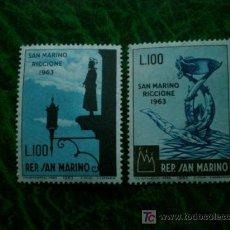 Sellos: SAN MARINO 1963 IVERT 597/98 *** JORNADA FILATELICA - MONUMENTOS. Lote 9318070