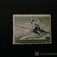 Sellos: SAN MARINO 1953 AEREO IVERT 100 * DEPORTES DE INVIERNO - ESQUI . Lote 22270804