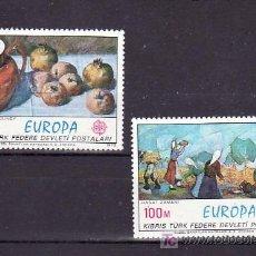 Sellos: CHIPRE TURCO 14/5 SIN CHARNELA, TEMA EUROPA 1975, PINTURA, . Lote 10870206