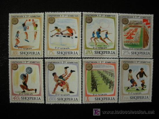 ALBANIA 1974 IVERT 1545/52 *** SPARTAKIADAS NACIONALES - DEPORTES (Sellos - Extranjero - Europa - Otros paises)
