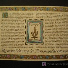 Sellos: NACIONES UNIDAS VIENA 1988 HB IVERT 4 ***40º ANIV. DECLARACIÓN UNIVERSAL DE LOS DERECHOS HUMANOS. Lote 18278777