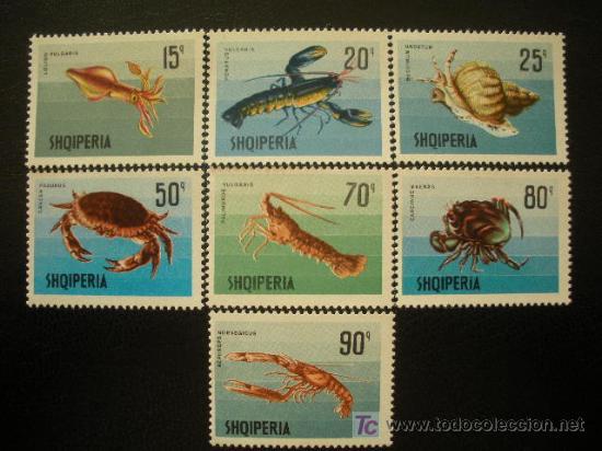 ALBANIA 1968 IVERT 1118/24 *** MOLUSCOS Y CRUSTACEOS - FAUNA MARINA (Sellos - Extranjero - Europa - Otros paises)