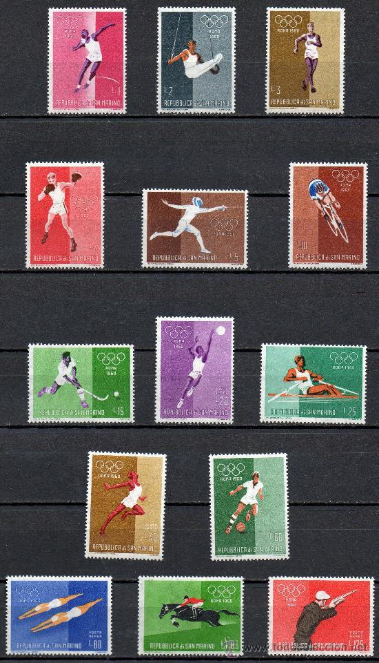 SAN MARINO AÑO 1960 YV 489/98 + A121/24*** JUEGOS OLÍMPICOS DE ROMA'60 - DEPORTES (Sellos - Extranjero - Europa - Otros paises)