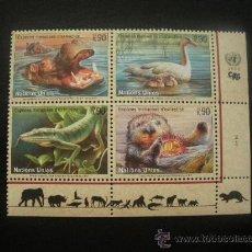 Sellos: NACIONES UNIDAS GINEBRA 2000 IVERT 401/4 *** ANIMALES EN PELIGRO DE EXTINCIÓN VIII - FAUNA. Lote 24379376