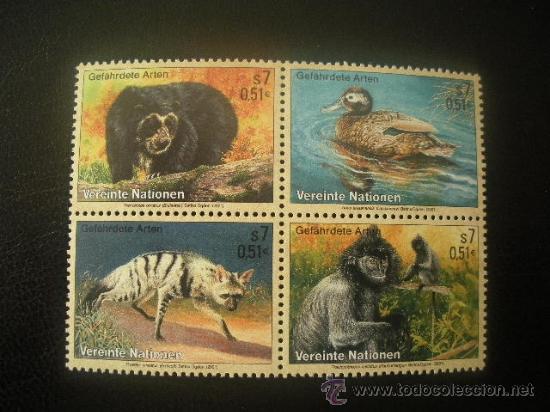 NACIONES UNIDAS VIENA 2001 IVERT 342/5 *** ANIMALES EN PELIGRO DE EXTINCIÓN (IX) - FAUNA (Sellos - Extranjero - Europa - Otros paises)