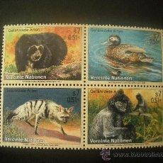 Sellos: NACIONES UNIDAS VIENA 2001 IVERT 342/5 *** ANIMALES EN PELIGRO DE EXTINCIÓN (IX) - FAUNA. Lote 23182358