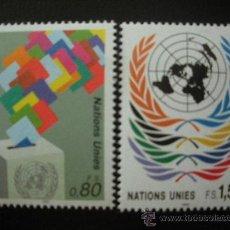 Sellos: NACIONES UNIDAS GINEBRA 1991 IVERT 208/9 *** SERIE BÁSICA - EMBLEMA DE LA ONU. Lote 23201541