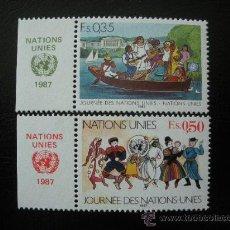 Sellos: NACIONES UNIDAS GINEBRA 1987 IVERT 158/9 *** DÍA DE NACIONES UNIDAS. Lote 23260262