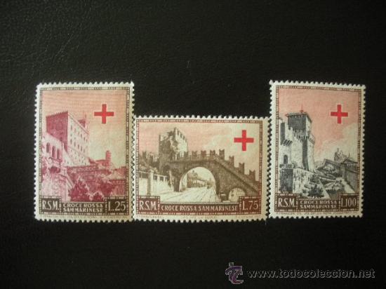 SAN MARINO 1951 IVERT 343/5 * FUNDACIÓN DE LA CRUZ ROJA SAN MARINENSE - MONUMENTOS (Sellos - Extranjero - Europa - Otros paises)