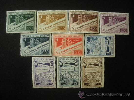 SAN MARINO 1943 IVERT 224/33 * PRENSA DE SAN MARINO (Sellos - Extranjero - Europa - Otros paises)