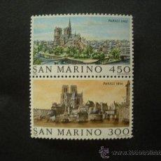Sellos: SAN MARINO 1982 IVERT 1057/8 *** GRANDES CIUDADES DEL MUNDO - PARIS. Lote 25891518
