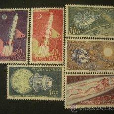 Sellos: CHECOSLOVAQUIA 1961 IVERT 1132/7 *** CONQUISTA DEL ESPACIO (I) - SATELITES. Lote 27499629