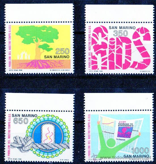 SAN MARINO AÑO 1988 YV 1189/92*** CONFERENCIA PARA LA PREVENCIÓN DEL SIDA - SALUD - ÁRBOLES (Sellos - Extranjero - Europa - Otros paises)