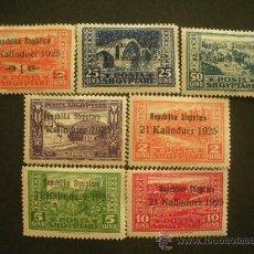 Sellos: ALBANIA 1925 IVERT 159/65 *** PROCLAMACIÓN DE LA REPUBLICA - PAISAJES. Lote 28092794