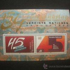 Sellos: NACIONES UNIDAS VIENA 1990 HB IVERT 5 *** 45º ANIVERSARIO DE NACIONES UNIDAS. Lote 30117484