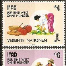 Sellos: NACIONES UNIDAS (VIENA) YVERT NUM. 79/80 ** SERIE COMPLETA SIN FIJASELLOS. Lote 186170838