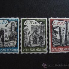 Sellos: SAN MARINO Nº YVERT 524/6*** AÑO 1961. EXPOSICION FILATELICA EN BOLONIA. MONUMENTOS. SERIE CHARNELA. Lote 35270044