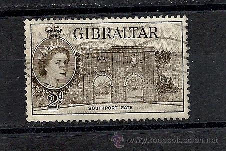GIBRALTAR 1953, YVERT Nº 133, ELIZABETH II Y PAISAJE. MATASELLADO (Sellos - Extranjero - Europa - Otros paises)
