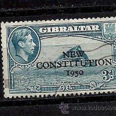 Sellos: GIBRALTAR 1950, YVERT Nº 126, CONSTITUCION . MATASELLADO. Lote 35329080