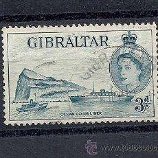 Sellos: GIBRALTAR 1953, YVERT Nº 135, ELIZABETH II Y PAISAJE. MATASELLADO. Lote 35329100