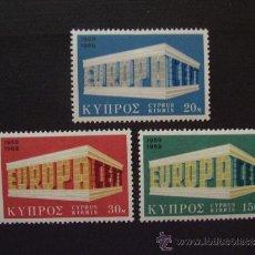 Sellos: CHIPRE Nº YVERT 311/3*** AÑO 1969. TEMA EUROPA. SERIE CON CHARNELA. Lote 36099619