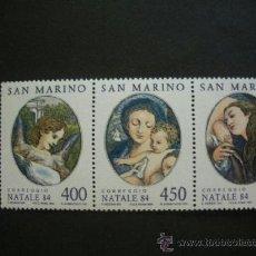 Sellos: SAN MARINO 1984 IVERT 1104/6 *** NAVIDAD - PINTURA - DETALLES CUADRO LA MADONA DE SAN GIROLAMO. Lote 37240067