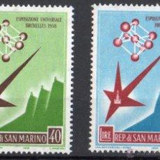 Sellos: SAN MARINO AÑO 1958 YV 447/48*** EXPOSICIÓN UNIVERSAL DE BRUSELAS - ARQUITECTURA. Lote 41490733