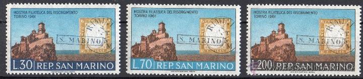 SAN MARINO AÑO 1961 YV 520/22*** EXPOSICIÓN FILATÉLICA DE TURÍN - SELLO SOBRE SELLO - TURISMO (Sellos - Extranjero - Europa - Otros paises)