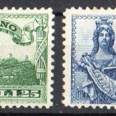 Sellos: SAN MARINO AÑO 1929 YV 7/8*** CORREO URGENTE - BUSTO DE LA LIBERTAD Y VISTA DE SAN MARINO - TURISMO. Lote 41491225