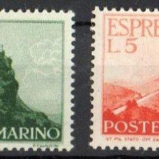 Sellos: SAN MARINO AÑO 1945 YV 11/12*** CORREO URGENTE - VISTA DE SAN MARINO - TURISMO. Lote 41491379