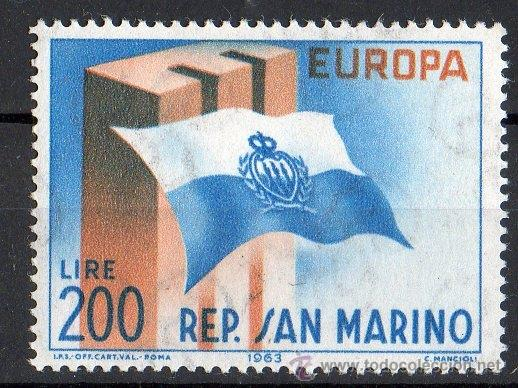 SAN MARINO AÑO 1963 YV 604*** EUROPA - BANDERAS (Sellos - Extranjero - Europa - Otros paises)