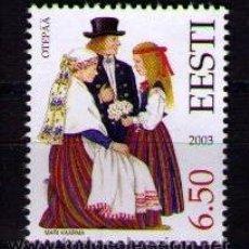 Sellos: ESTONIA 2003 - TRAJES REGIONALES - YVERT Nº 452. Lote 41593095