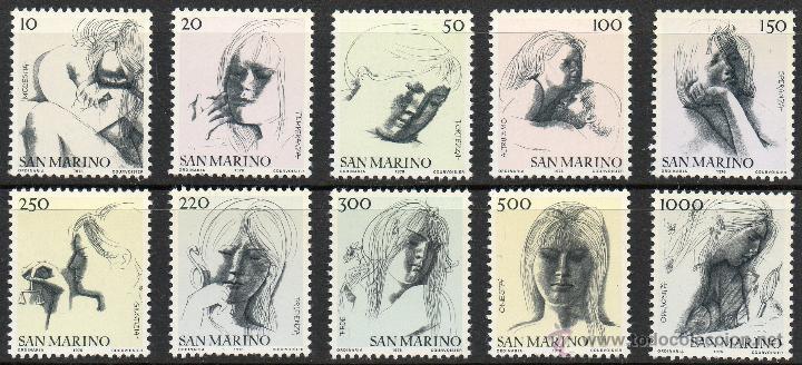 SAN MARINO AÑO 1976 YV 908/17*** LAS VIRTUDES CIVILES - DIBUJOS DE EMÍLIO GRECO - ARTE (Sellos - Extranjero - Europa - Otros paises)