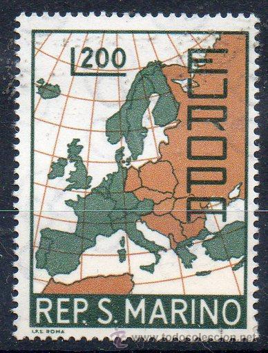 SAN MARINO AÑO 1967 YV 697*** EUROPA - MAPAS (Sellos - Extranjero - Europa - Otros paises)